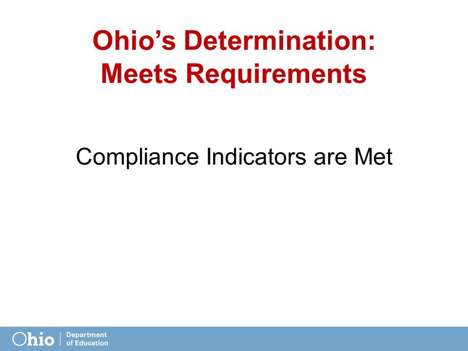 Ohio's Determination: Meets Requirements Compliance Indicators are Met