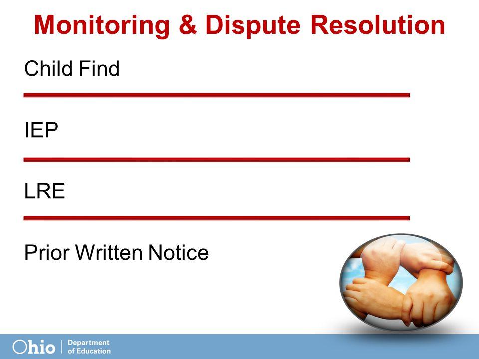 Monitoring & Dispute Resolution Child Find IEP LRE Prior Written Notice