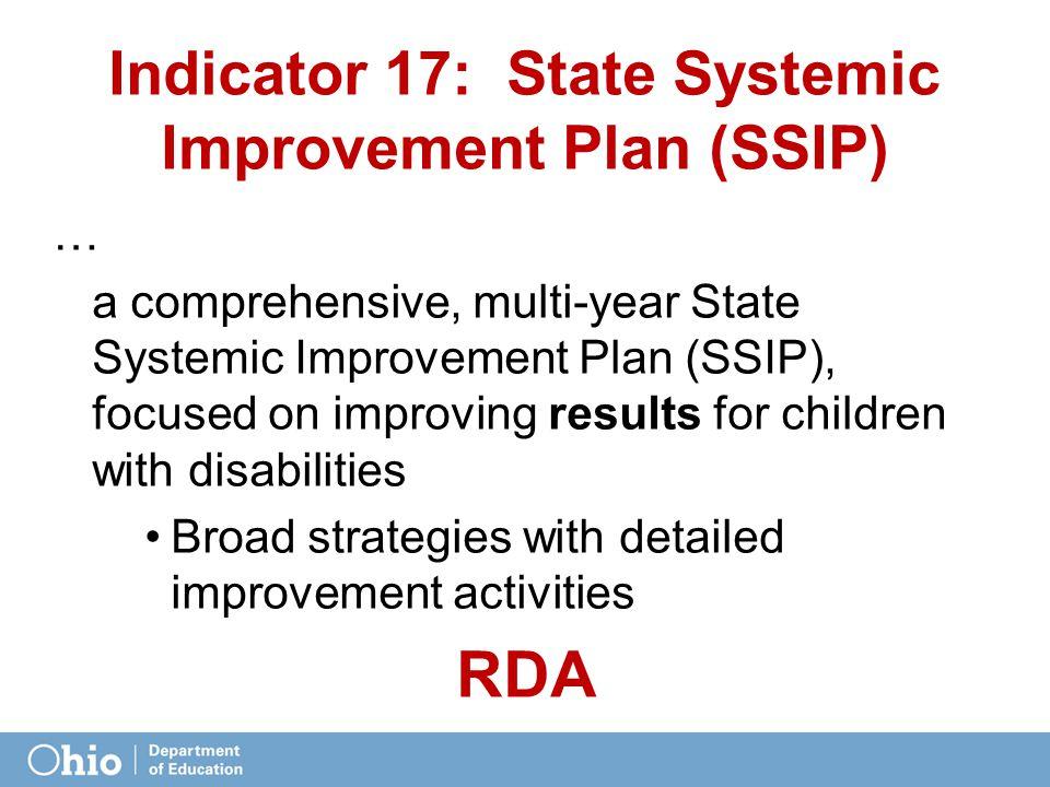 Indicator 17: State Systemic Improvement Plan (SSIP) … a comprehensive, multi-year State Systemic Improvement Plan (SSIP), focused on improving result