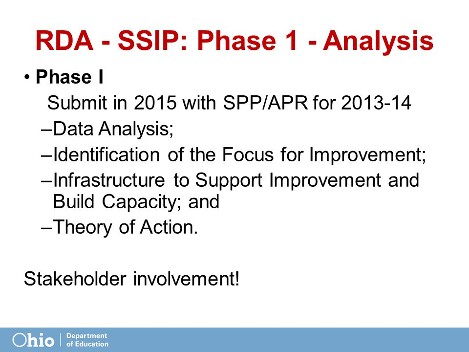 RDA - SSIP: Phase 1 - Analysis Phase I Submit in 2015 with SPP/APR for 2013-14 –Data Analysis; –Identification of the Focus for Improvement; –Infrastr