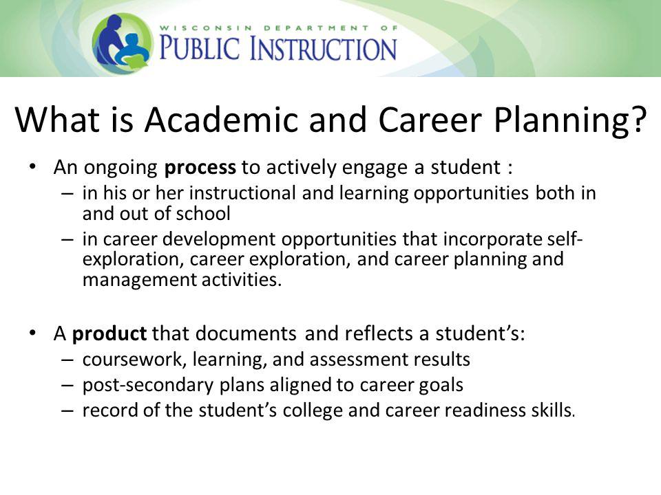 ACP Process Components: Know, Explore, Plan, Implement KNOW – Self awareness – Exploration activities – Individual goal-setting EXPLORE – Career awareness assessment – Career research