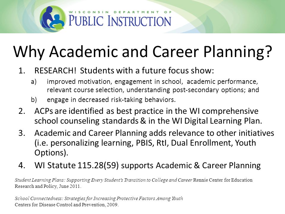 Why Academic and Career Planning. 1.RESEARCH.