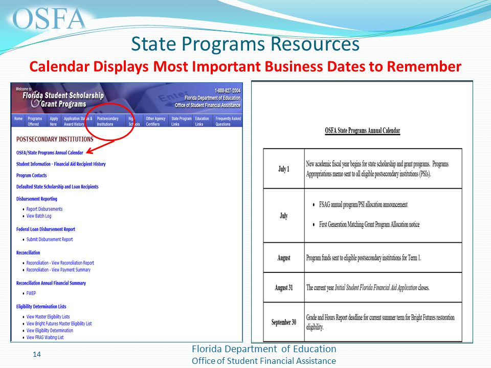 Florida Department of Education Office of Student Financial Assistance State Programs Resources Calendar Displays Most Important Business Dates to Remember 14