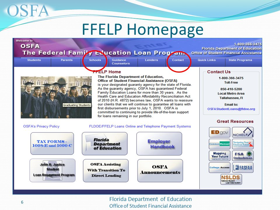 Florida Department of Education Office of Student Financial Assistance FFELP Homepage 6