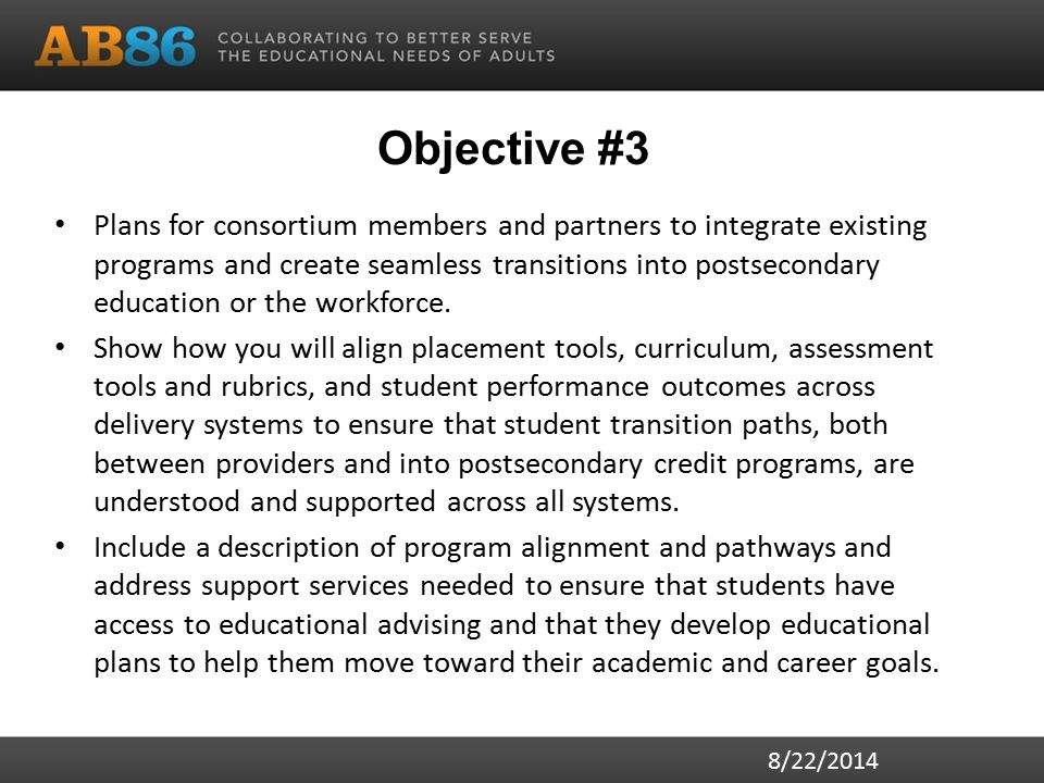 Objective #3 (specifics to include) Educational pathways Alignment of: – Placement – Curriculum – Assessments – Progress indicators – Major outcomes - i.e., awards of high school diplomas, CTE certificates, etc.