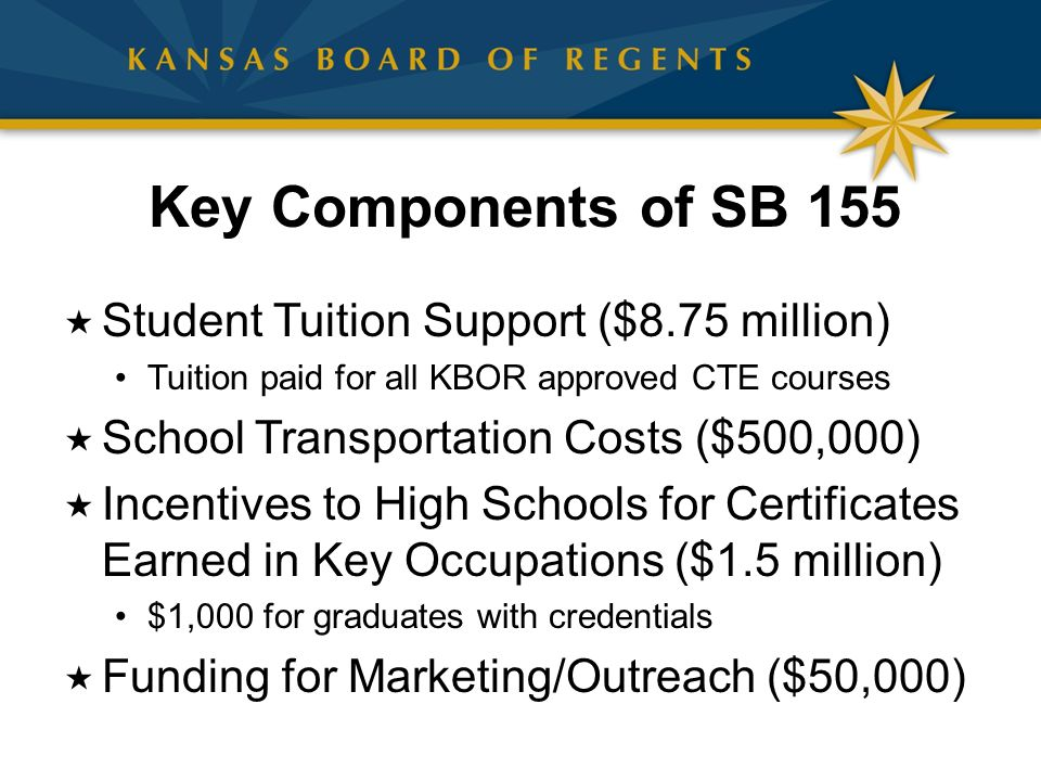  Student Tuition Support ($8.75 million) Tuition paid for all KBOR approved CTE courses  School Transportation Costs ($500,000)  Incentives to High Schools for Certificates Earned in Key Occupations ($1.5 million) $1,000 for graduates with credentials  Funding for Marketing/Outreach ($50,000) Key Components of SB 155