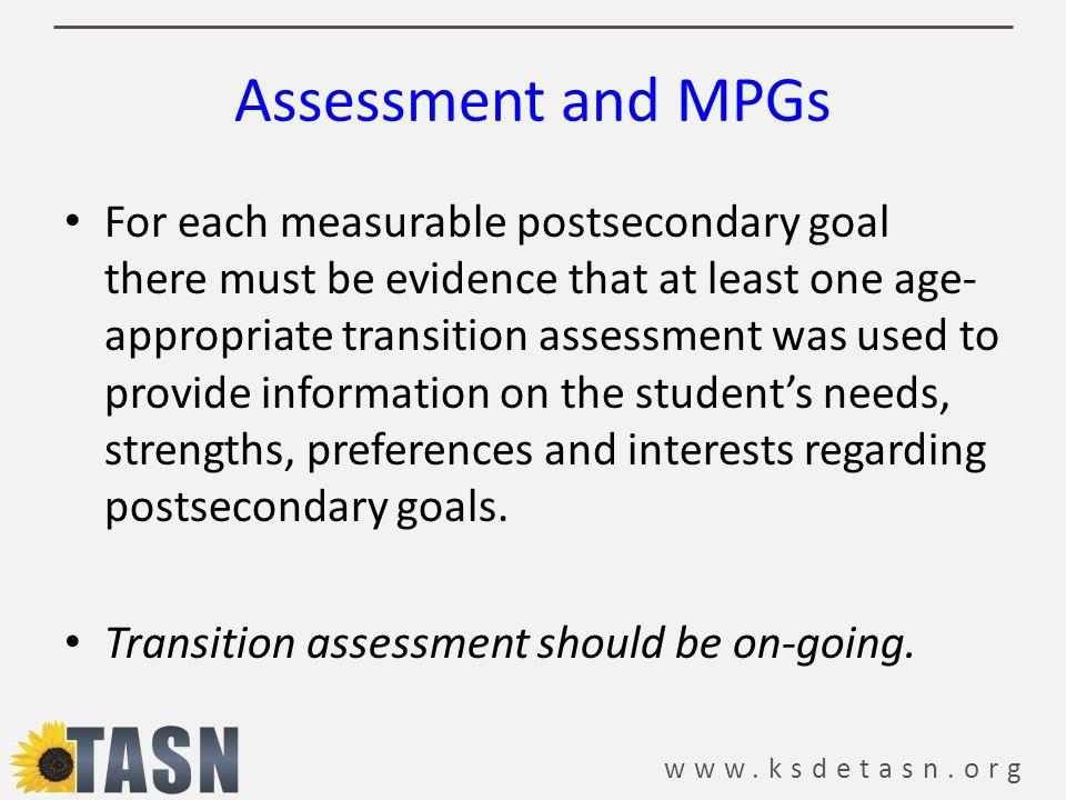www.ksdetasn.org Assessment and MPGs
