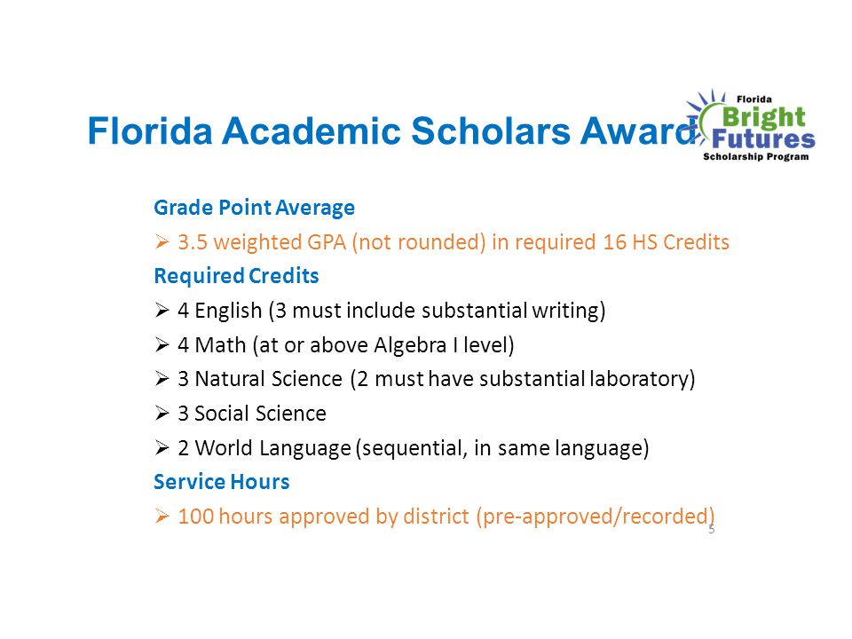 Florida Academic Scholars Award Grade Point Average  3.5 weighted GPA (not rounded) in required 16 HS Credits Required Credits  4 English (3 must in