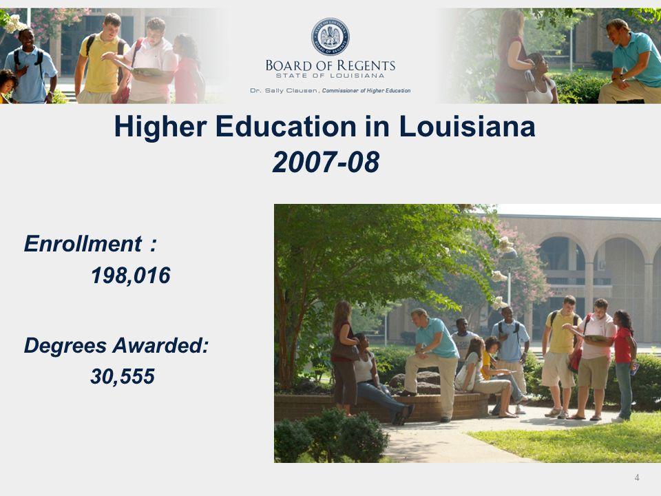 Higher Education in Louisiana 2007-08 Enrollment : 198,016 Degrees Awarded: 30,555 4