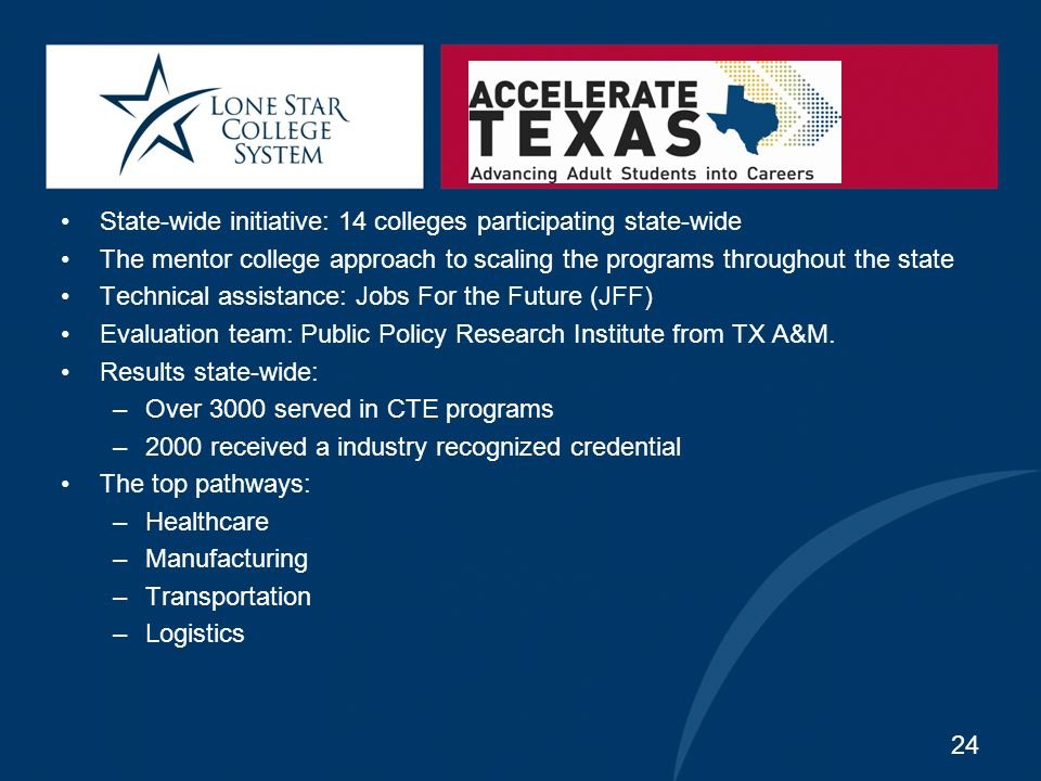 State-wide initiative: 14 colleges participating state-wide The mentor college approach to scaling the programs throughout the state Technical assista