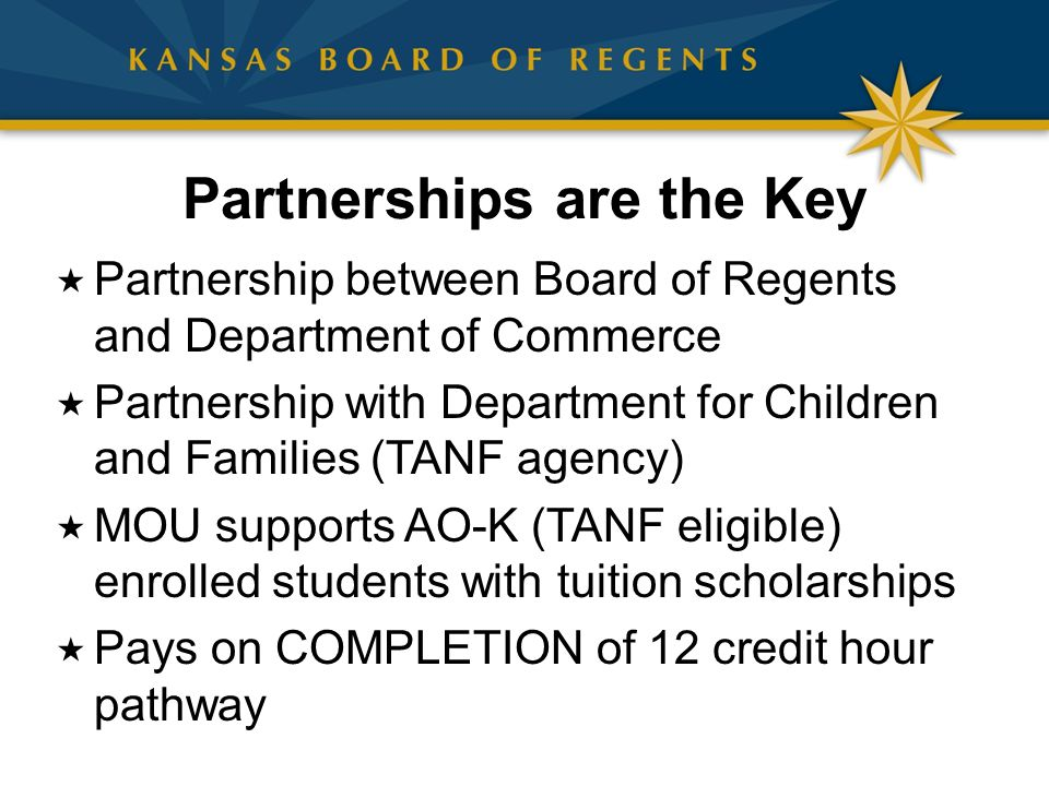 Partnerships are the Key  Partnership between Board of Regents and Department of Commerce  Partnership with Department for Children and Families (TA