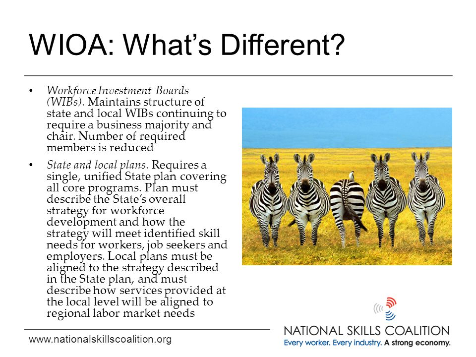 www.nationalskillscoalition.org WIOA: What's Different? Workforce Investment Boards (WIBs). Maintains structure of state and local WIBs continuing to