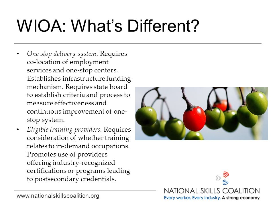 www.nationalskillscoalition.org WIOA: What's Different? One stop delivery system. Requires co-location of employment services and one-stop centers. Es