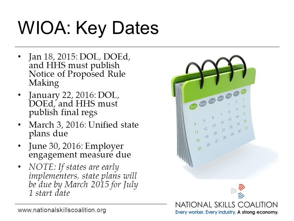 www.nationalskillscoalition.org WIOA: Key Dates Jan 18, 2015: DOL, DOEd, and HHS must publish Notice of Proposed Rule Making January 22, 2016: DOL, DO