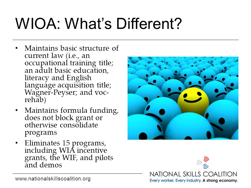 www.nationalskillscoalition.org WIOA: What's Different.