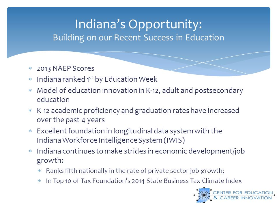 Indiana's Opportunity: Building on our Recent Success in Education  2013 NAEP Scores  Indiana ranked 1 st by Education Week  Model of education innovation in K-12, adult and postsecondary education  K-12 academic proficiency and graduation rates have increased over the past 4 years  Excellent foundation in longitudinal data system with the Indiana Workforce Intelligence System (IWIS)  Indiana continues to make strides in economic development/job growth:  Ranks fifth nationally in the rate of private sector job growth;  In Top 10 of Tax Foundation's 2014 State Business Tax Climate Index