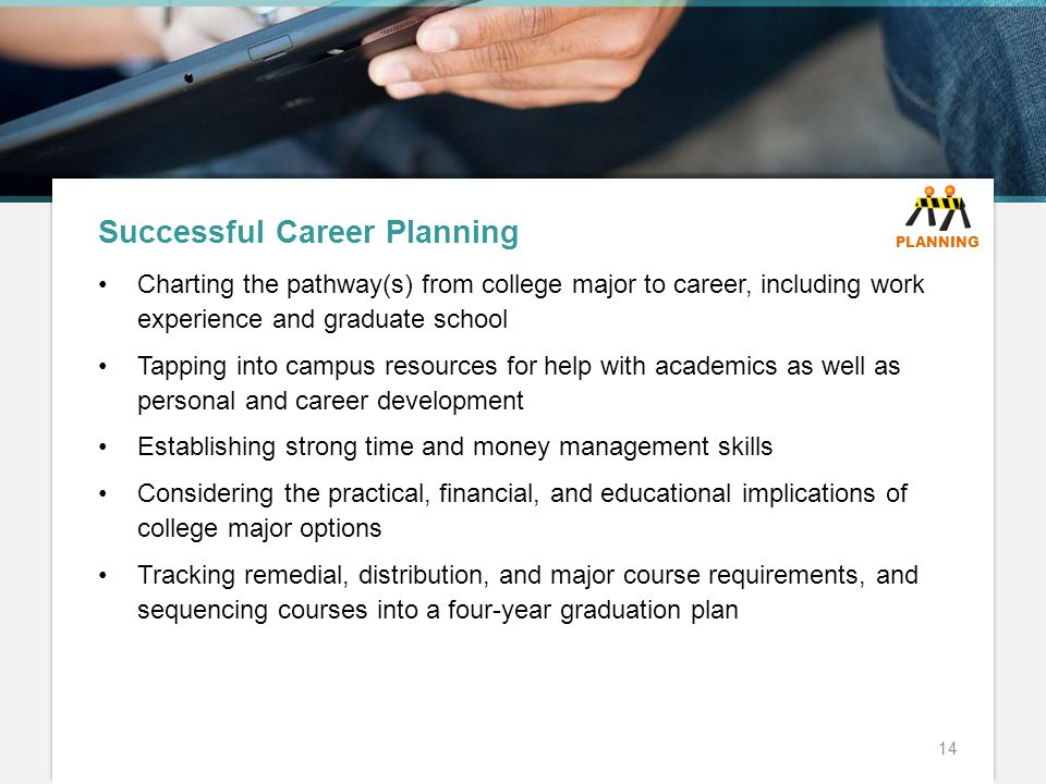Successful Career Planning Charting the pathway(s) from college major to career, including work experience and graduate school Tapping into campus resources for help with academics as well as personal and career development Establishing strong time and money management skills Considering the practical, financial, and educational implications of college major options Tracking remedial, distribution, and major course requirements, and sequencing courses into a four-year graduation plan 14 PLANNING