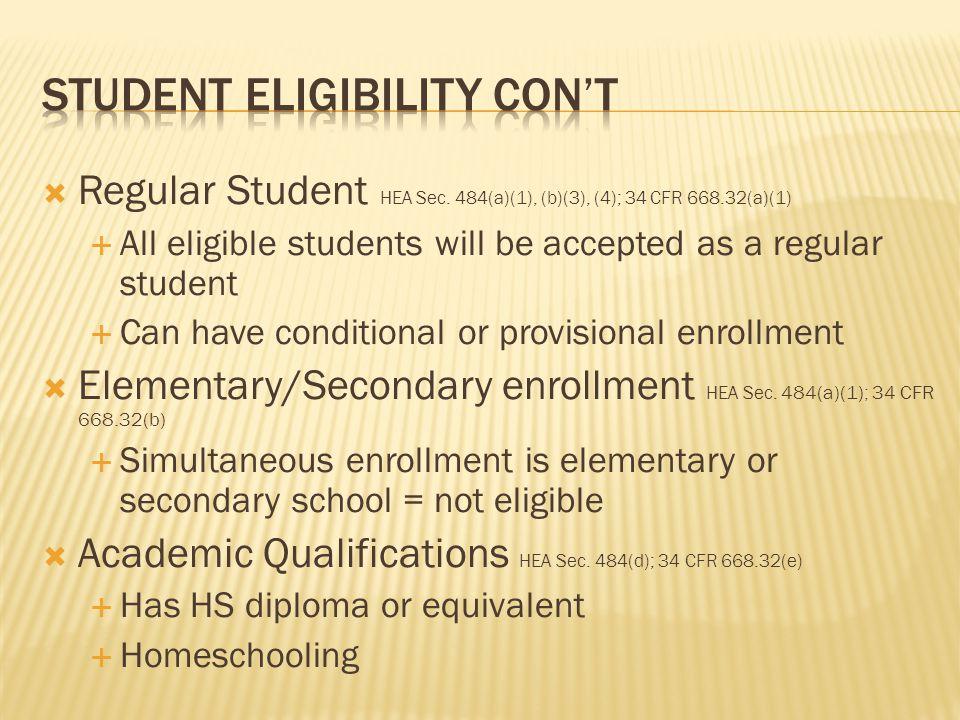  Regular Student HEA Sec.