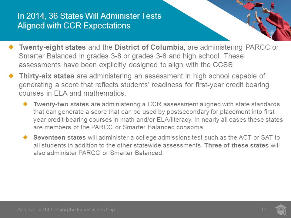 In 2014, 36 States Will Administer Tests Aligned with CCR Expectations Achieve | 2014 Closing the Expectations Gap13  Twenty-eight states and the District of Columbia, are administering PARCC or Smarter Balanced in grades 3-8 or grades 3-8 and high school.