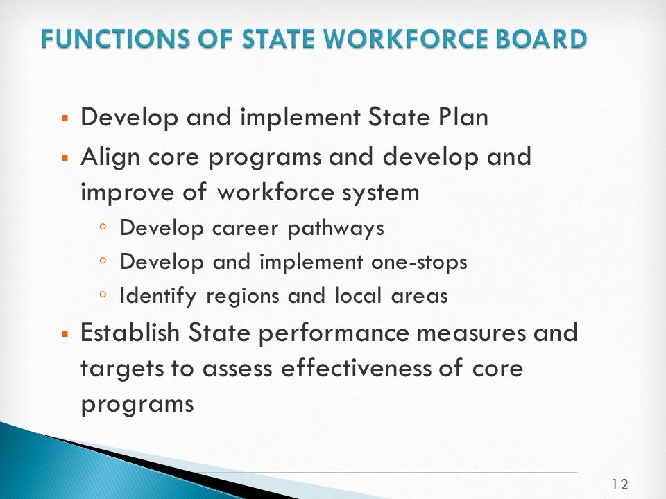  Develop and implement State Plan  Align core programs and develop and improve of workforce system ◦ Develop career pathways ◦ Develop and implement