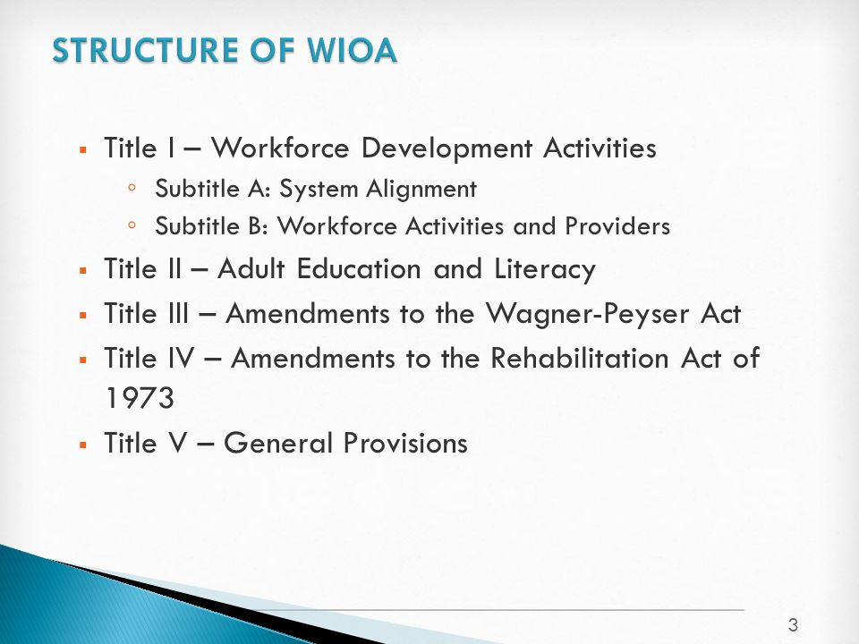  Title I – Workforce Development Activities ◦ Subtitle A: System Alignment ◦ Subtitle B: Workforce Activities and Providers  Title II – Adult Educat