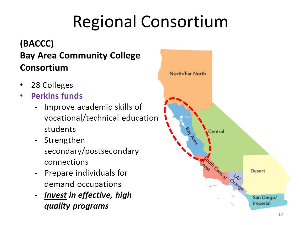 Regional Consortium (BACCC) Bay Area Community College Consortium 28 Colleges Perkins funds -Improve academic skills of vocational/technical education students -Strengthen secondary/postsecondary connections -Prepare individuals for demand occupations -Invest in effective, high quality programs 12