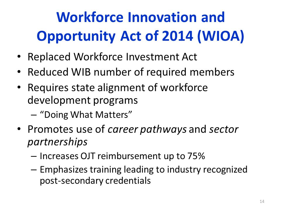 Workforce Innovation and Opportunity Act of 2014 (WIOA) Replaced Workforce Investment Act Reduced WIB number of required members Requires state alignment of workforce development programs – Doing What Matters Promotes use of career pathways and sector partnerships – Increases OJT reimbursement up to 75% – Emphasizes training leading to industry recognized post-secondary credentials 14
