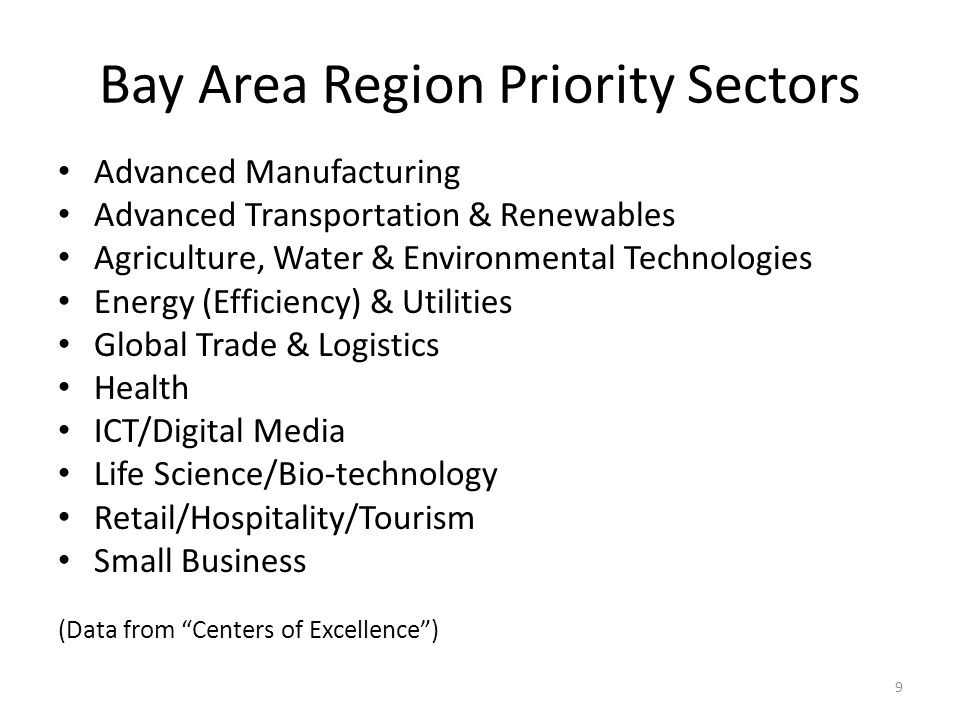 Bay Area Region Priority Sectors Advanced Manufacturing Advanced Transportation & Renewables Agriculture, Water & Environmental Technologies Energy (Efficiency) & Utilities Global Trade & Logistics Health ICT/Digital Media Life Science/Bio-technology Retail/Hospitality/Tourism Small Business (Data from Centers of Excellence ) 9