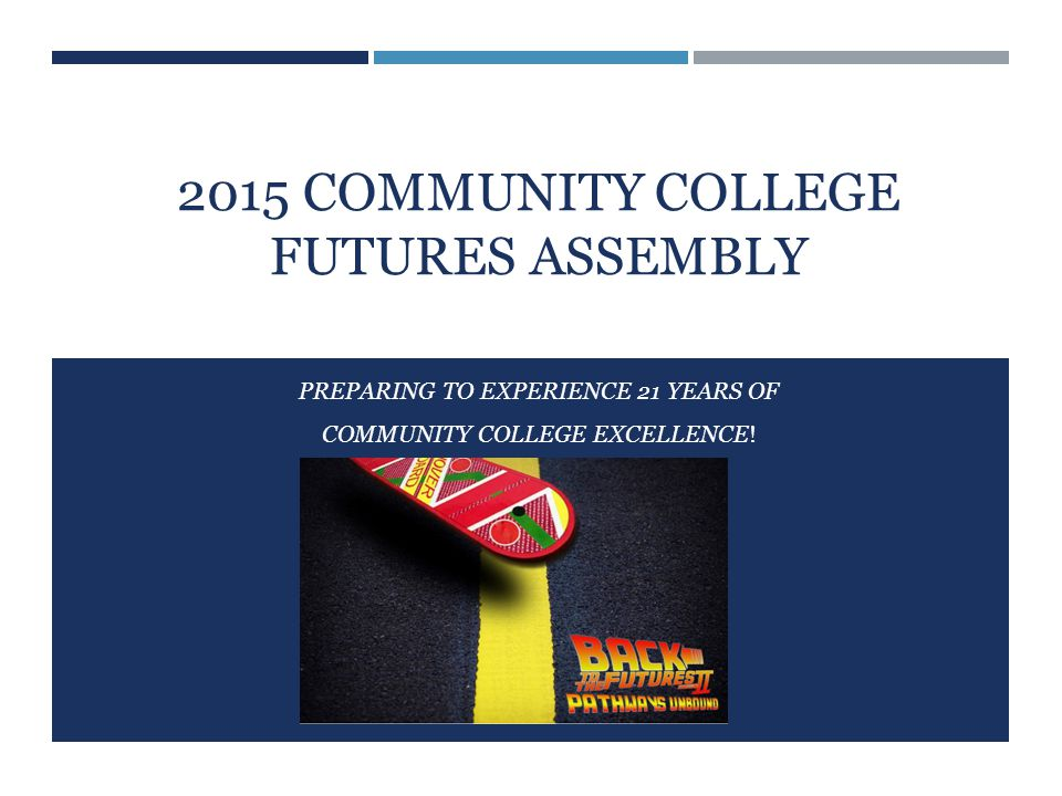 2015 COMMUNITY COLLEGE FUTURES ASSEMBLY PREPARING TO EXPERIENCE 21 YEARS OF COMMUNITY COLLEGE EXCELLENCE!