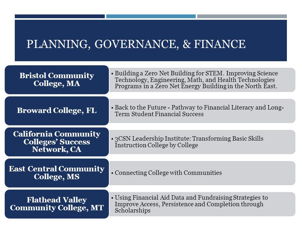 PLANNING, GOVERNANCE, & FINANCE Building a Zero Net Building for STEM.