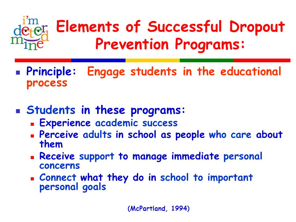 Elements of Successful Dropout Prevention Programs: Principle: Engage students in the educational process Students in these programs: Experience academic success Perceive adults in school as people who care about them Receive support to manage immediate personal concerns Connect what they do in school to important personal goals (McPartland, 1994)