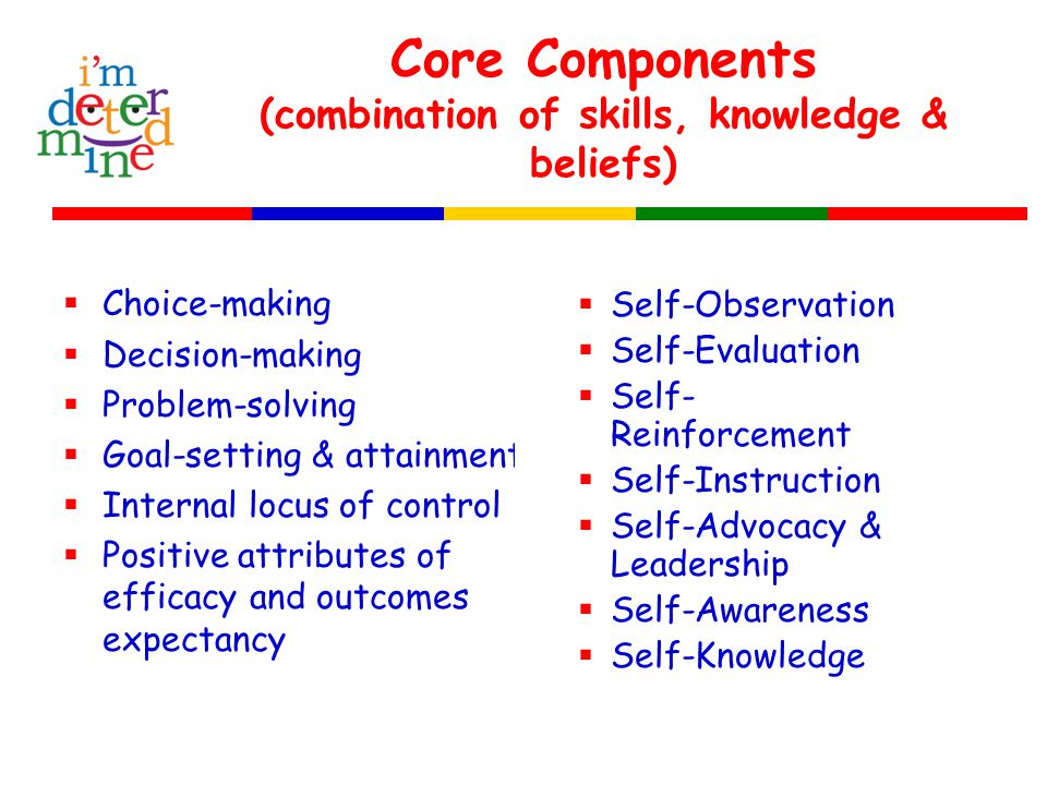 Core Components (combination of skills, knowledge & beliefs)  Choice-making  Decision-making  Problem-solving  Goal-setting & attainment  Internal locus of control  Positive attributes of efficacy and outcomes expectancy  Self-Observation  Self-Evaluation  Self- Reinforcement  Self-Instruction  Self-Advocacy & Leadership  Self-Awareness  Self-Knowledge