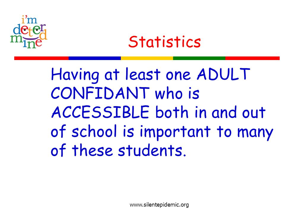 Statistics Having at least one ADULT CONFIDANT who is ACCESSIBLE both in and out of school is important to many of these students.
