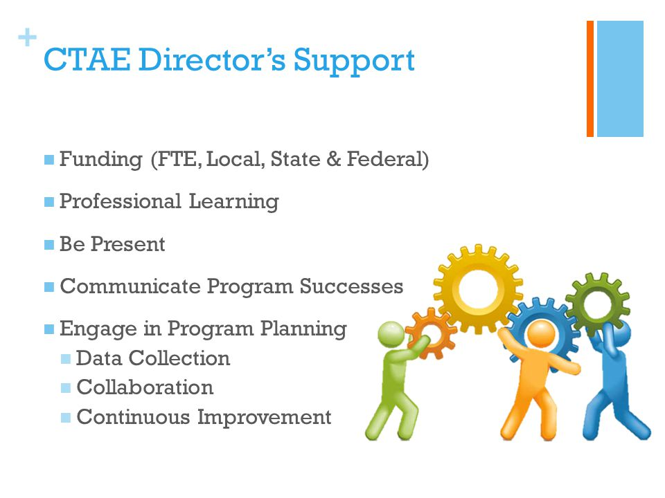 + CTAE Director's Support Funding (FTE, Local, State & Federal) Professional Learning Be Present Communicate Program Successes Engage in Program Plann