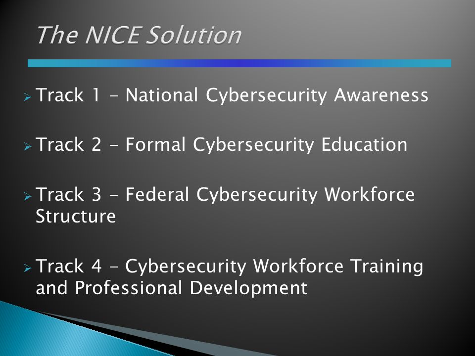  Track 1 - National Cybersecurity Awareness  Track 2 - Formal Cybersecurity Education  Track 3 - Federal Cybersecurity Workforce Structure  Track