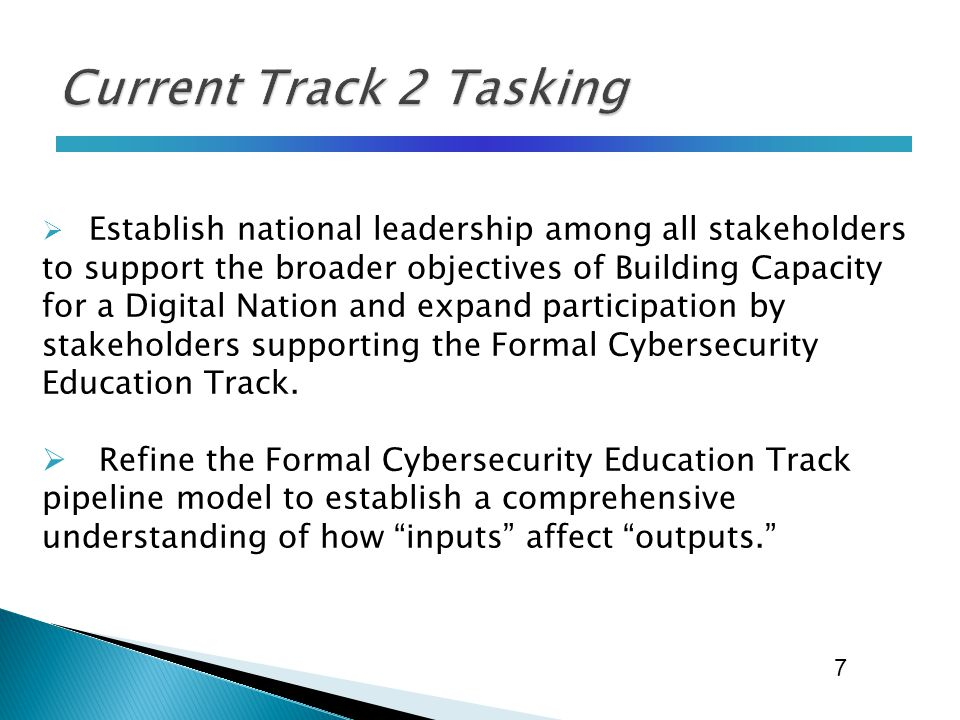  Establish national leadership among all stakeholders to support the broader objectives of Building Capacity for a Digital Nation and expand participation by stakeholders supporting the Formal Cybersecurity Education Track.