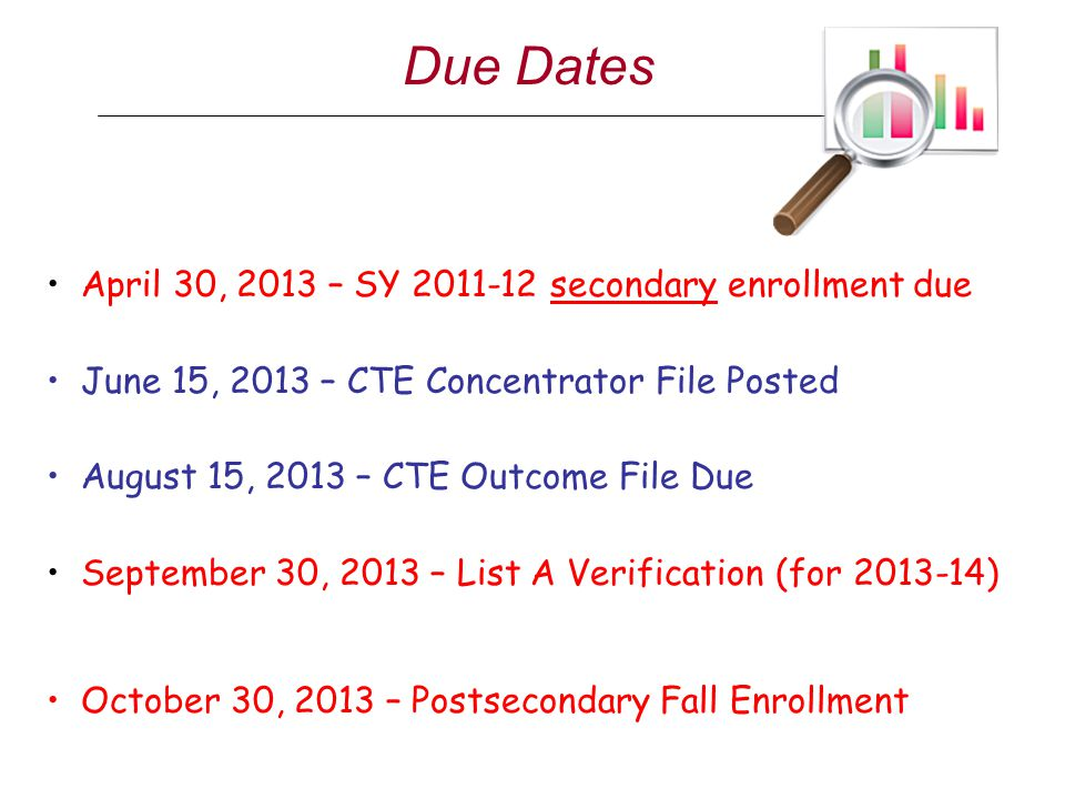 Due Dates April 30, 2013 – SY 2011-12 secondary enrollment due June 15, 2013 – CTE Concentrator File Posted August 15, 2013 – CTE Outcome File Due Sep