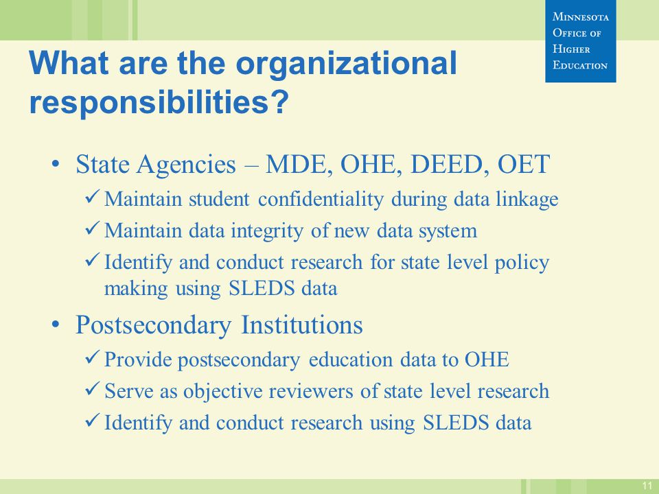11 What are the organizational responsibilities.