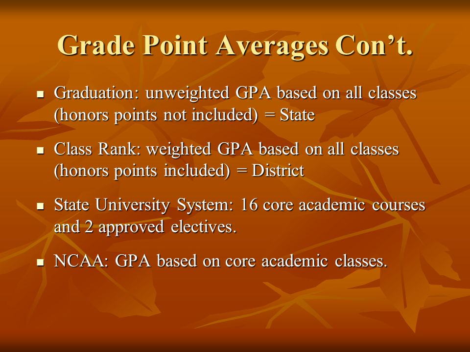 Grade Point Averages Con't. Graduation: unweighted GPA based on all classes (honors points not included) = State Graduation: unweighted GPA based on a