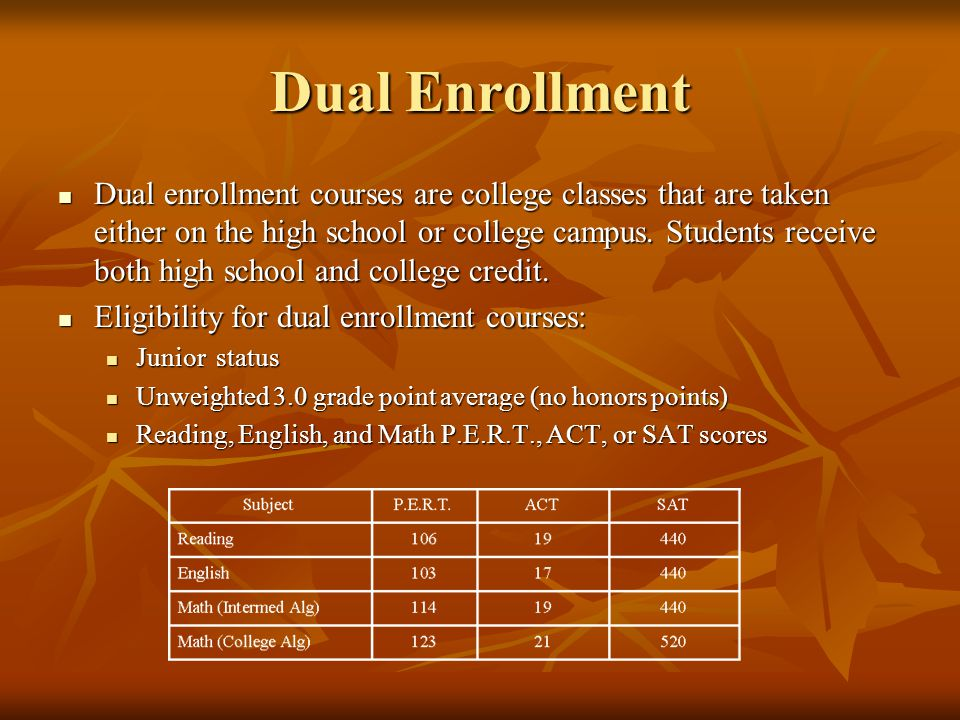 Dual Enrollment Dual enrollment courses are college classes that are taken either on the high school or college campus.