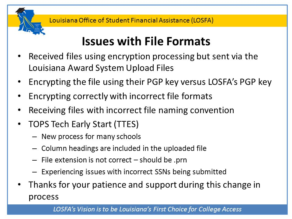 LOSFA's Vision is to be Louisiana's First Choice for College Access Louisiana Office of Student Financial Assistance (LOSFA) Issues with File Formats