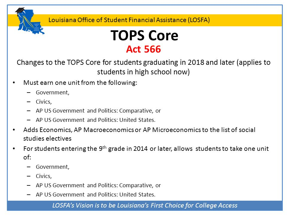 LOSFA's Vision is to be Louisiana's First Choice for College Access Louisiana Office of Student Financial Assistance (LOSFA) TOPS Core Act 566 Changes
