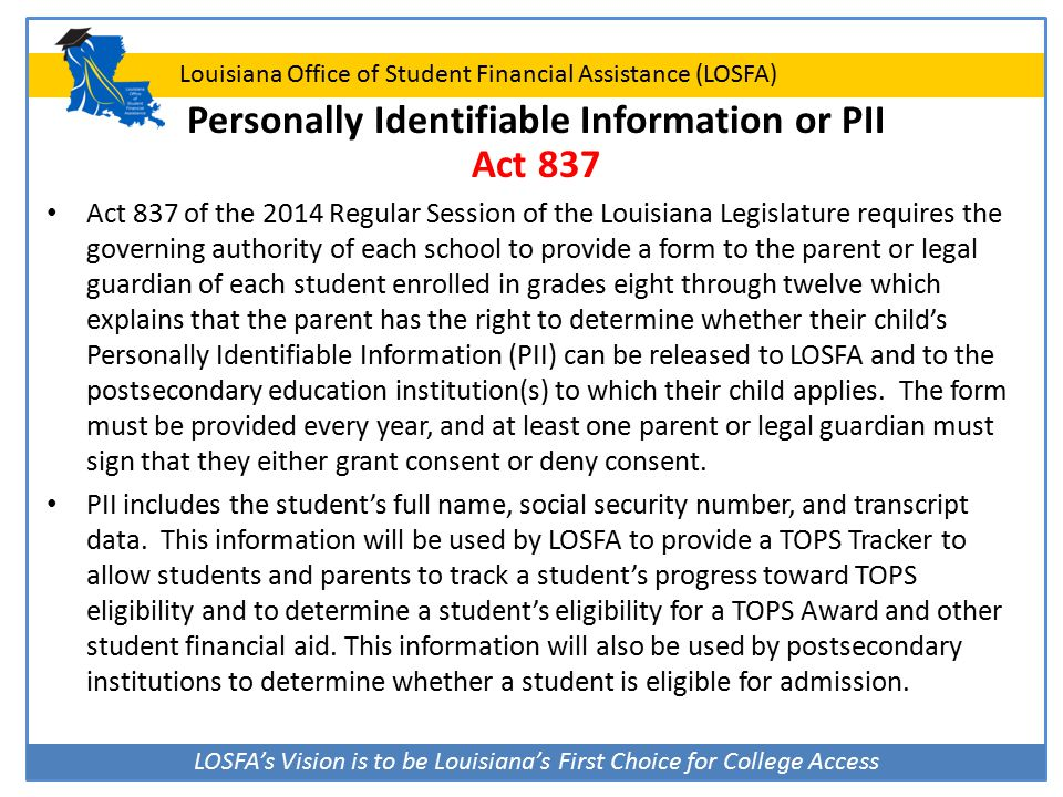 LOSFA's Vision is to be Louisiana's First Choice for College Access Louisiana Office of Student Financial Assistance (LOSFA) Personally Identifiable I
