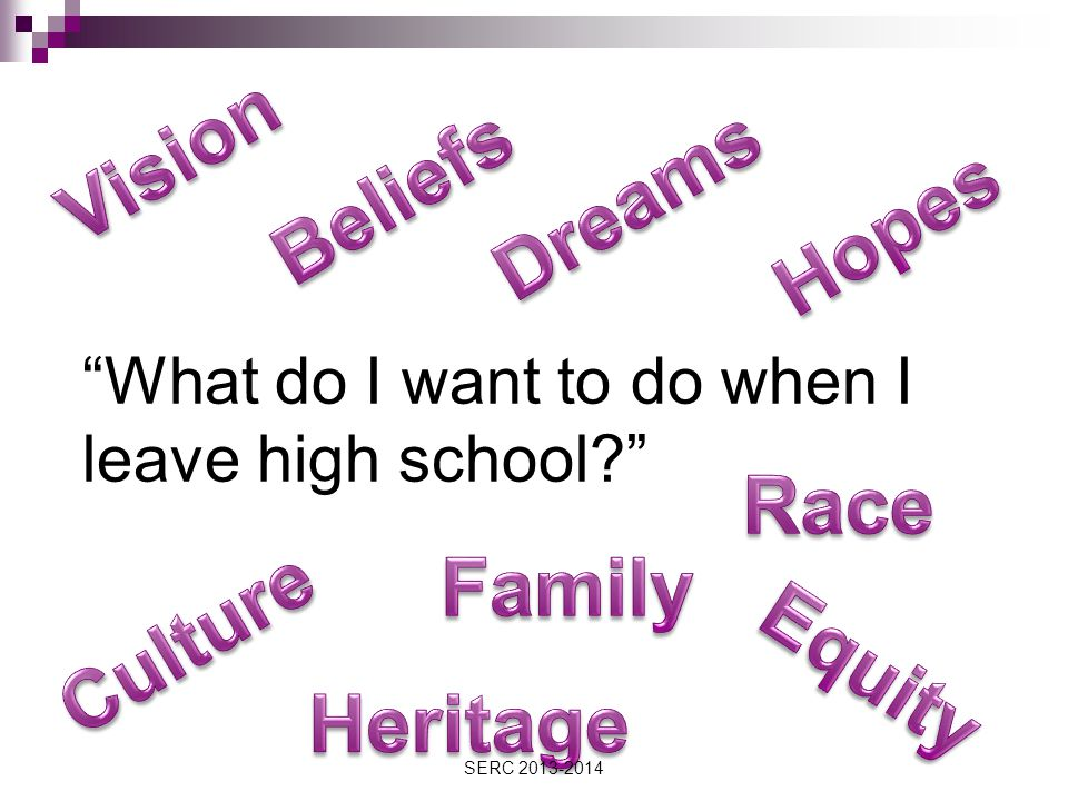 What do I want to do when I leave high school SERC 2013-2014