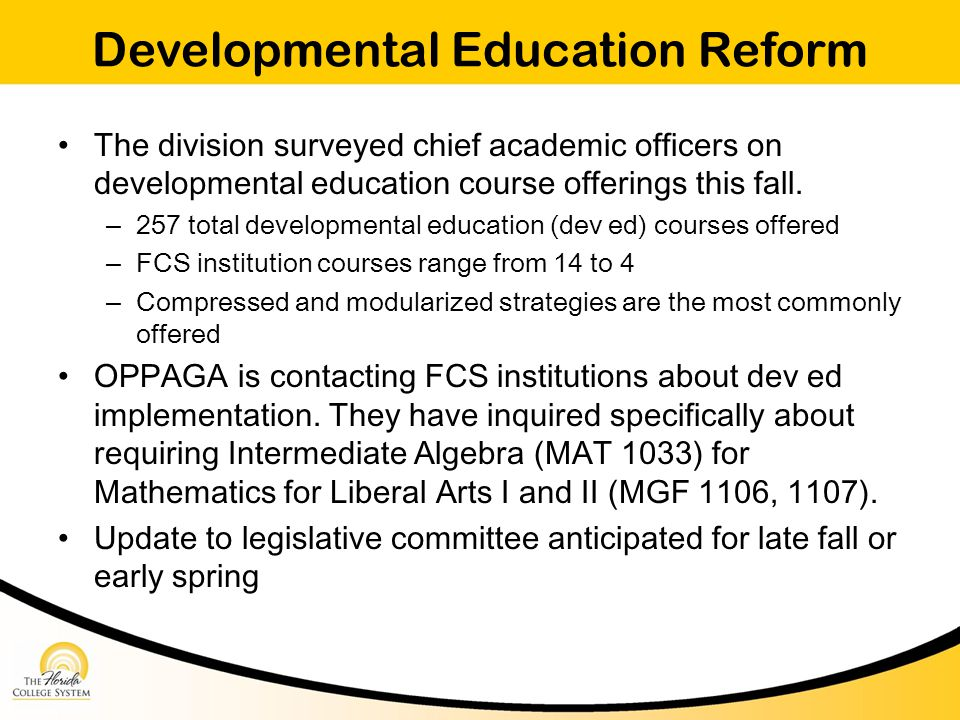 Developmental Education Reform The division surveyed chief academic officers on developmental education course offerings this fall.