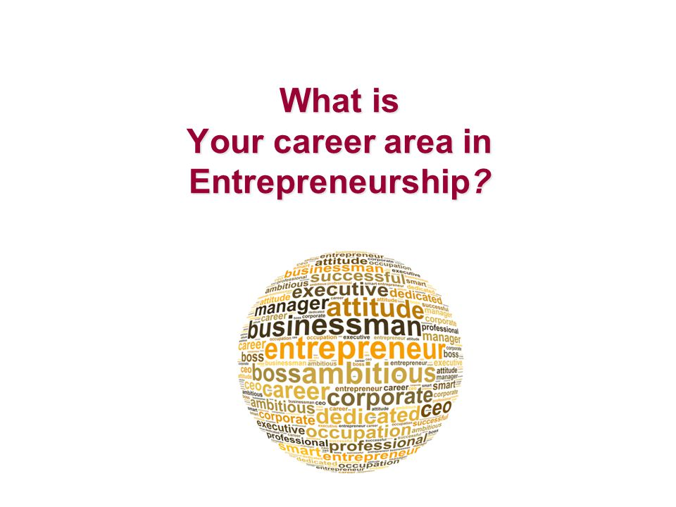 What is Your career area in Entrepreneurship