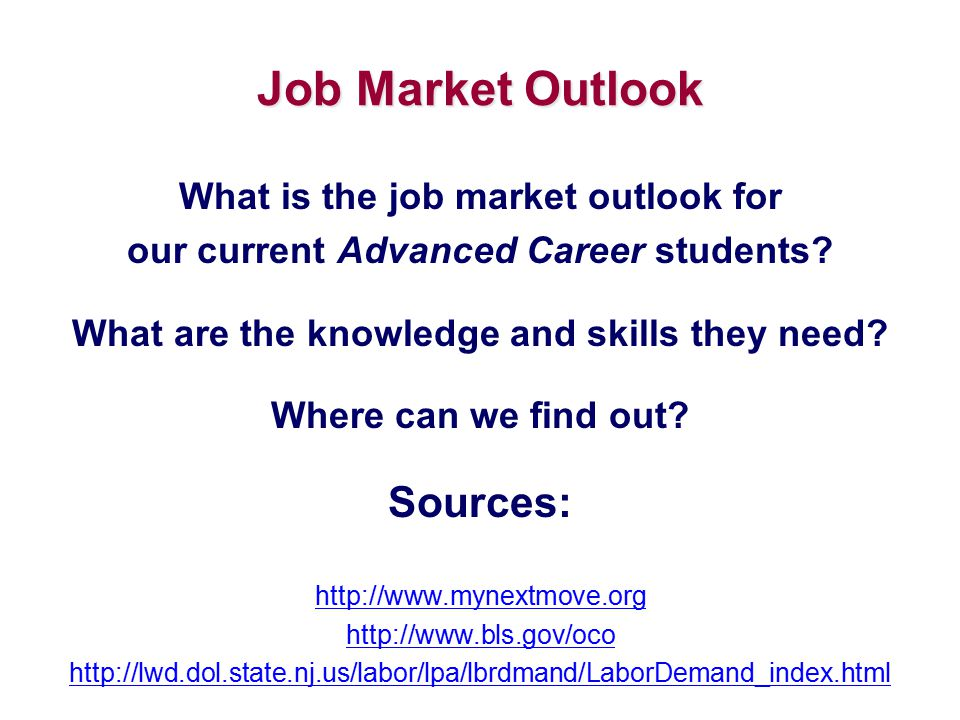 Job Market Outlook What is the job market outlook for our current Advanced Career students? What are the knowledge and skills they need? Where can we
