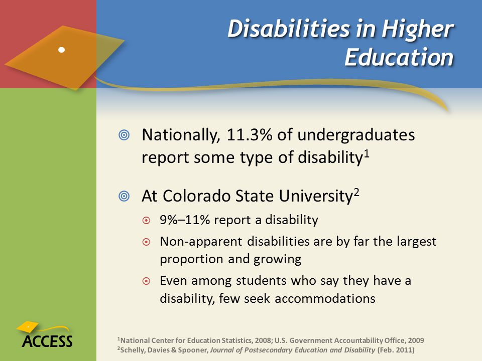 Disabilities in Higher Education  Nationally, 11.3% of undergraduates report some type of disability 1  At Colorado State University 2  9%–11% report a disability  Non-apparent disabilities are by far the largest proportion and growing  Even among students who say they have a disability, few seek accommodations 1 National Center for Education Statistics, 2008; U.S.