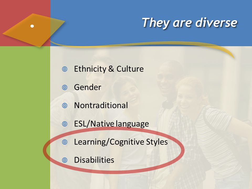 They are diverse  Ethnicity & Culture  Gender  Nontraditional  ESL/Native language  Learning/Cognitive Styles  Disabilities