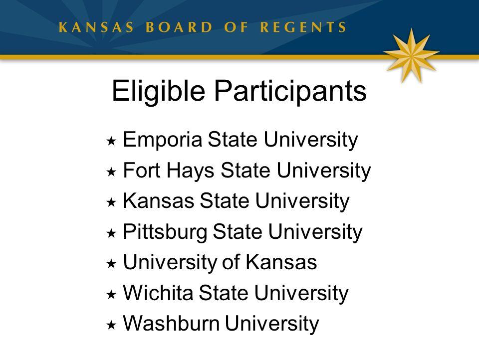 Eligible Participants  Emporia State University  Fort Hays State University  Kansas State University  Pittsburg State University  University of Kansas  Wichita State University  Washburn University